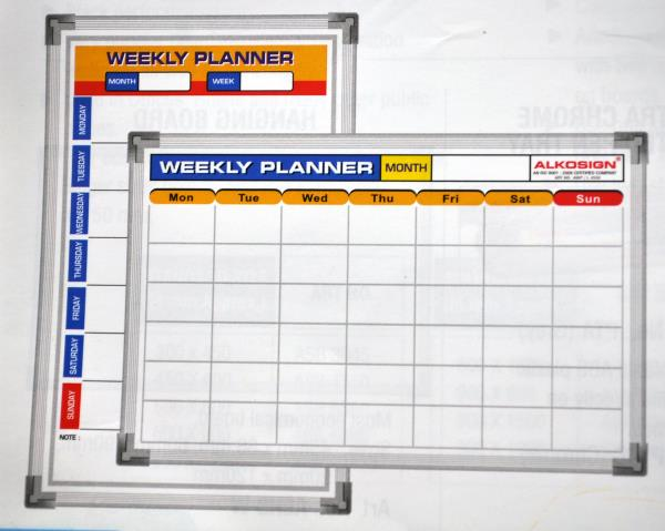 Weekly planners in Goa.  AWP 3045, AWP/L 4530.  Weekly planners in Panjim Goa.  Alkosign printed weekly planners available at Menezes Enterprises.  Hanging series aluminium frame-light weight.  Acrylic resin coated steel surface.  Easy to w - by Menezes Enterprises, Panjim