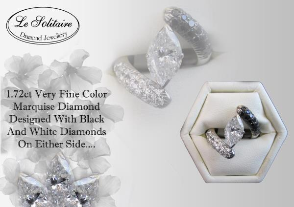 Marquise Diamond Ring With small Black And White Diamonds For Further Detail Visit- www.lesolitaire.in - by Le Solitaire, New Delhi