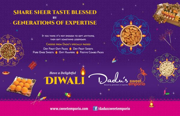 This Diwali Share Sheer Taste Blessed By Generations of Expertise with Specially Packed Pure Ghee Sweets and Dry Fruit Sweets, Dry Fruits, Gift Hampers, Festive Combos, Cookies, Chocolates and lots more. Book your Diwali Bulk Sweet Orders now before its too late!   Have a Delightful Diwali