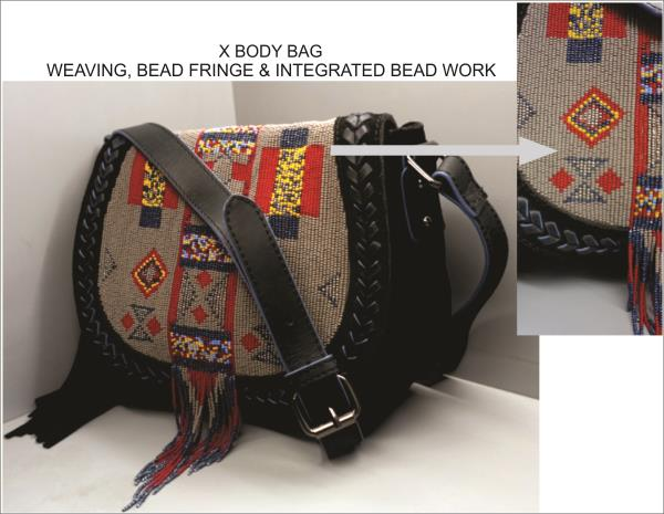 Manufacturer & Exporter Hi Fashion Leather, Fabric handbags & Small Leather Goods   Soft Cow Leather Saddle with Hand Beaded Flap , Weaving on edge and Beaded Fringe with Detachable Cross body Handle  We are happy to Develop for you. Express Your Style  Bazaar Design Team