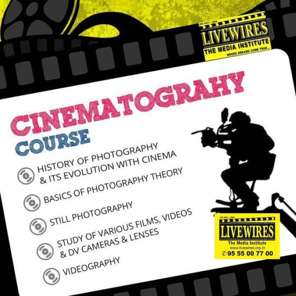 Course in Cinematography Film & TV is a highly technical medium and using the cameras and lights is a creative job. The training of a cameraperson involves understanding the potential of the equipment as well as developing an artistic bent  - by Livewires North Delhi, New Delhi