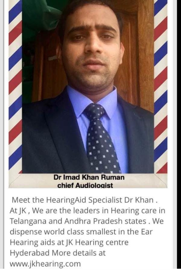 Meet the specialist of Hearing aid hearing care Systems , who carries masters degree in hearing aid and digital hearing programming  For best advice and best Hearing aid in Hyderabad . www.jkhearing.com - by JK Speech & Hearing Centre, Hyderabad
