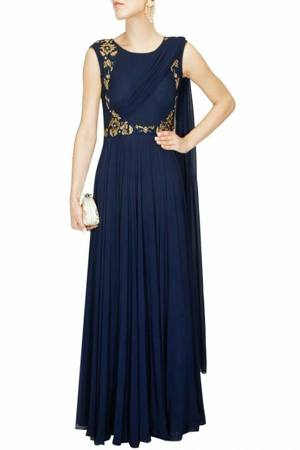 Made to Measure Sari Dresses - hand embroidered by   www runwayfashion.in  #madetomeasuredresses #saridresses #embroidereddgown #custommade