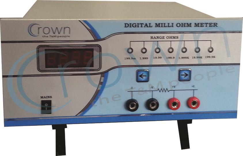 DIGITAL MILLI OHM METER   CROWN Digital milli ohm meter is used for measurement of resistance of wires , transformers, motors etc. our digital  milli ohm meter is a very precise instrument , it uses four terminal measurement method for resi - by Crown Electronic Systems, New Delhi