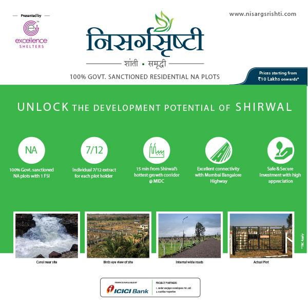 Why to Invest in Shirwal?  Nisargsrishti | NA plots | Residential NA plots | NA plots In Pune |‬Excellence Shelters | Real Estate Investment   Reason #1: Western India's Mega Food Processing Plant is in Satara. There are 10 such plants in India.In Maharashtra its in Satara.  https://goo.gl/qVw7Bd   Close to our Residential NA plotting site Nisargsrishti. 45 mins from Chandani Chowk. 2000 sq.ft. plots available with ICICI bank loan with 70%loan. Price: Rs.12Lakh onwards  For more information:- Call: +91-8888355559  Email: enquiry@excellenceshelters.com