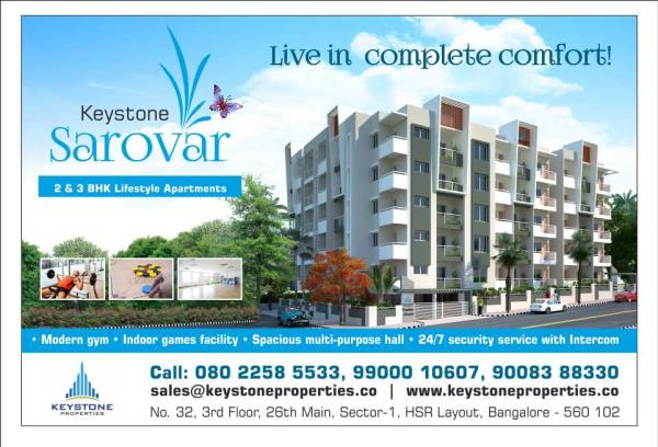 Pre-Launch  Offers on 2 & 3 BHK Flats at JP Nagar Keystone Sarovar 2 & 3 BHK Luxury Flats Available @ JP Nagar 8th Phase, Near Jambu Savari Dinne, Bangalore For More Details Contact:- 9900010607 / 9900010332  - by Keystone Properties, Bengaluru