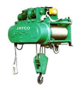 Wire Electric Hoist Manufacturer in Mumbai  JAYCO Electric Hoists are designed in modular construction simplifying repairs & maintenance thus reducing down time .  JAYCO offers wide range of Electric Winches These are used for loading, unloading and pulling of heavy loads at different angless in construction sites for erection & installation. SPECIAL FEATURES : DESIGN - compact & simple with low head room. CONSTRUCTION – HOISTS are of fabricated modular construction & consist of separate individual units such as Brake, Motor, Gear Box, Wire Rope Drum, Electrical Control Panel & Travelling Trolley. All these units are easily accessible for repairs & maintenance without disturbing each other.