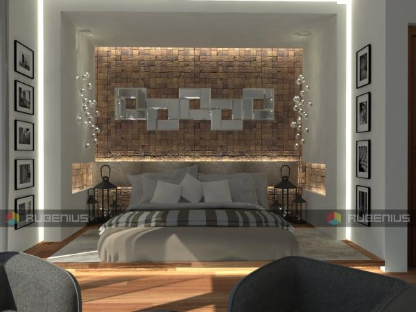 Best designers in Bangalore City Rubenius Interiors The Makeover of a villa for the people who lives beyond 3d designed view of the master bed room so that the client understands the look and feel of the room interactive client friendly decors coove lighting mirrors artwork