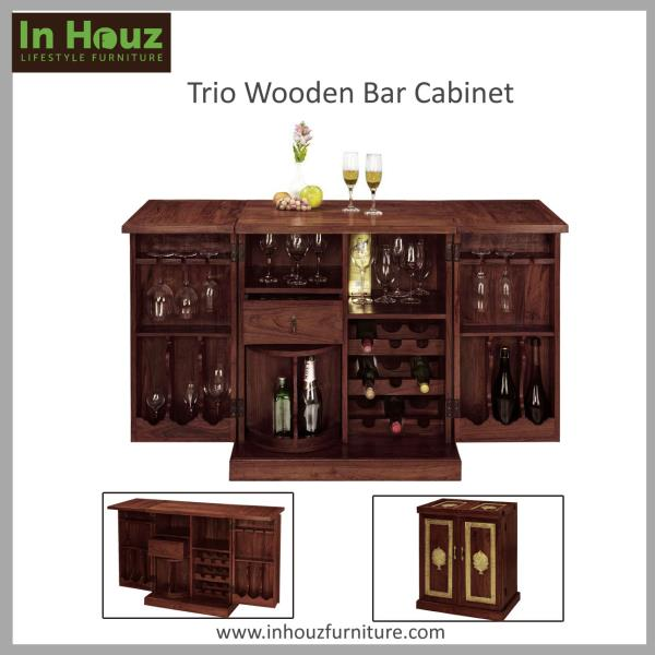 Finished in Gorgeously Mahogany Colour, this Bar Cabinet For Home would bring style and flair to your Home Decor.   #WoodenBarCabitet#BarCabinetDesigns#BarCabinetIndia#BarCabinetDesignsForSale#BarCabinetOnlineInIndia#SheeshamWoodBarCabinet# - by In Houz Furniture, Chennai