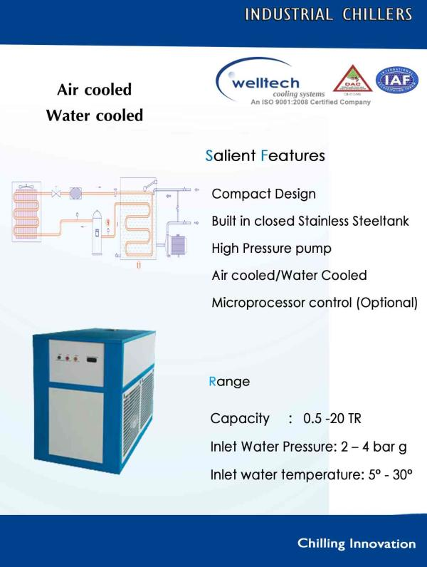 Air cooled scroll chiller manufacture in kerala   We design manufacturer and  supplier of air cooled scroll chiller compressor CFC gas for custom design.  Our capacity  1TR to 60Tr package chiller with cooling tower  - by WELLTECH COOLING SYSTEMS -(Contact :9095205321), Coimbatore