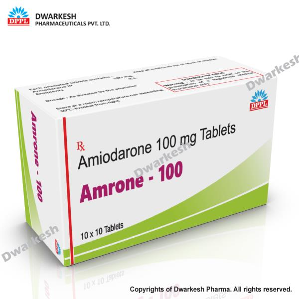 Dwarkesh Pharmaceutical Private Limited do third party pharma contract manufacturing for Amiodarone 100 mg tablets.