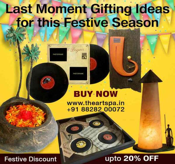 One Design, One product  Innovative gifting ideas, to give your loved ones this Diwali  Hurry!!! Get discount till stock last. Handcrafted Home Decor, Accessories, Furniture, Paintings, Murals, Wall Art and Gifting Ideas from The Art Spa.   http://theartspa.in/category/festive  Call: +91 88282 00072