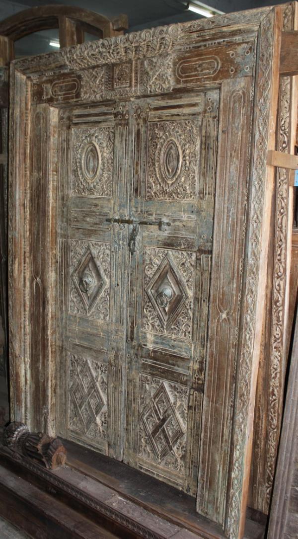 Antique door - gujarati door - Carved Door - teak wood door - distressed finish - by Jain Exports, Ahmedabad