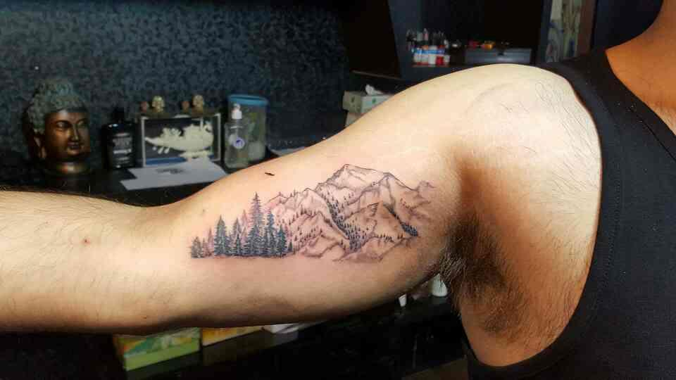 landscape Tattoo for mountain lovers done at RIP Tattoos located at Lajpat Nagar new Delhi India and work done by artist Abhijeet Dhaila. RIP Tattoos is the best Tattoo institute all over India. - by R.I.P Tattoos, New Delhi