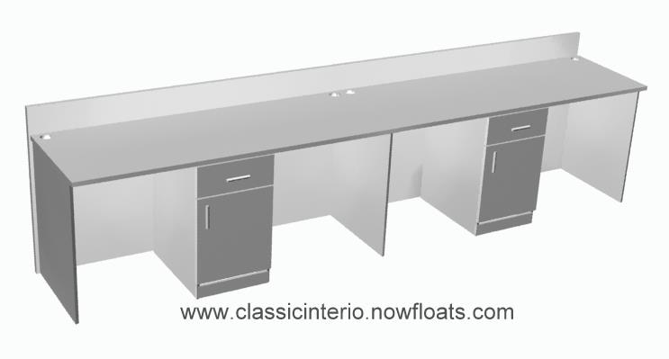 Office furniture, linear Workstations with common pedestals, available in custom sizes.