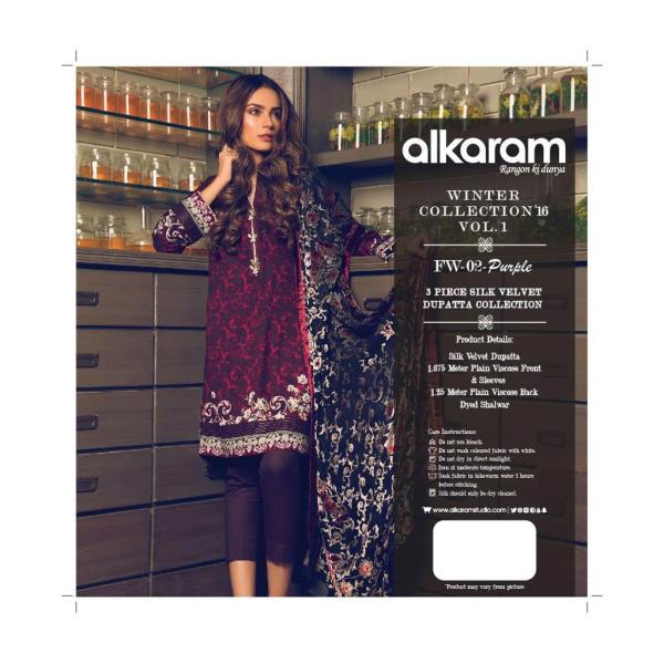 The mesmerizing winter collection by Al KAram ..  Viscose printed/embroidered suit with silk/ velvet dupatta .  Pre book ur pcs now.  Price 4600. Hurry !