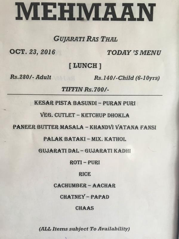 Enjoy Best Gujarati Thali in Ahmedabad !   Sunday special menu !