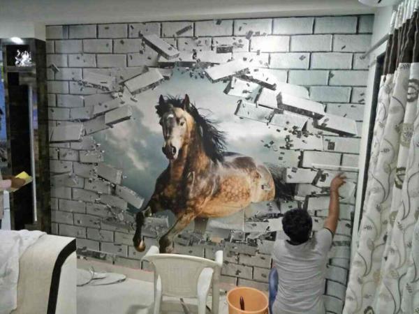 per installation in progress at a client location#Customisedwallpaper #Digitalwallpaper #HDwallpaper #3Dwallpaper #thinkwalls