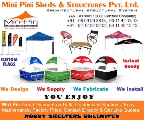 Promotional Canopies Manufacturing Companies, Suppliers, Dealers, Contrractors, Dealers, Exporters, New Delhi, India - by Industrial Sheds Manufacturing Co. 9899993813, 9212020202, Delhi