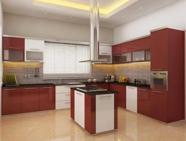 The U-shape Kitchen room style has become a well-liked alternative for Kitchen layouts. it's most ordinarily suited to larger Kitchen room areas. it's an ideal layout for families World Health Organization pay a good deal of your time withi - by Redme Interiors     -    9952430242, Coimbatore