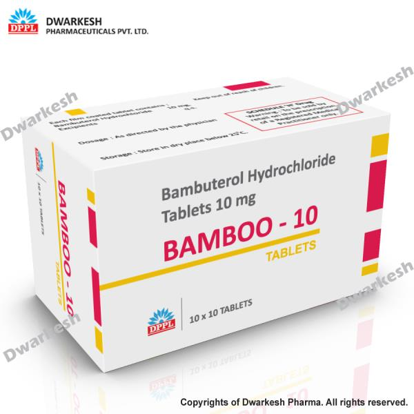Dwarkesh Pharmaceutical Private Limited do pharma contract manufacturing of Bambuterol Hydrochloride Tablets 10 mg.