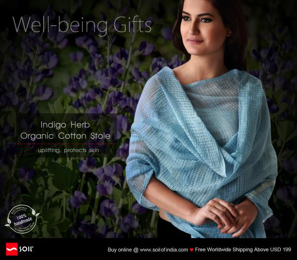Indigo Herb, Organic Cotton Stole Uplifting Protects Skin handmade in india by soil of india for California, Los Angeles, Marin, Kings, Contra Costa, Beverly Hills.  Pure organic cotton wellness stoles, hand spun, hand loomed with hand pluc - by Haute Couture, California