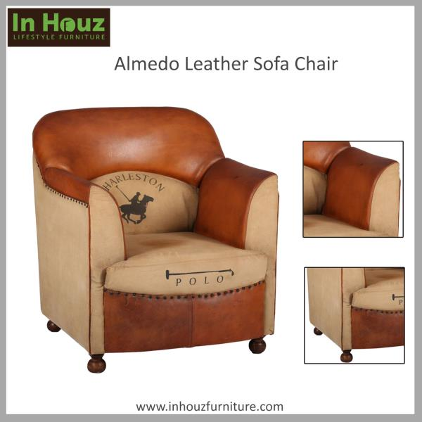 A modern classic handsomely outfitted in Leather. From clean arms and gently sloped back to subtly tapered Sheesham Hardwood round legs, the plump tight back and deep comfortable seat provide sink-in comfort.  #LeatherSofa#LeatherSofaDesign - by In Houz Furniture, mumbai