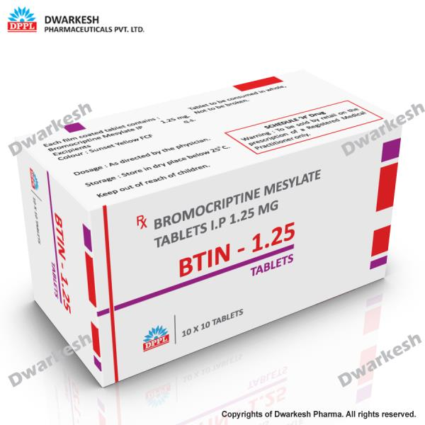Dwarkesh Pharmaceutical private limited is manufacturing of Bromocriptine Mesylate tablets I.P. 1.25 mg.