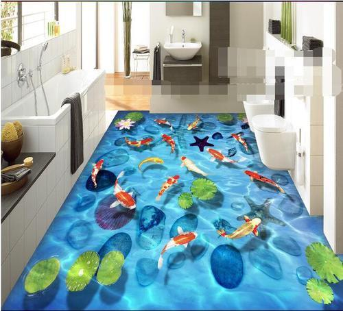 3D flooring  The advantages of the bathroom 3D floors are quite a lot - in principle, it can even be called the perfect solution for this room. And all thanks to the following advantages.Highest performance - this bathroom 3D flooring is a  - by Pastiche Homes LLP, Bangalore