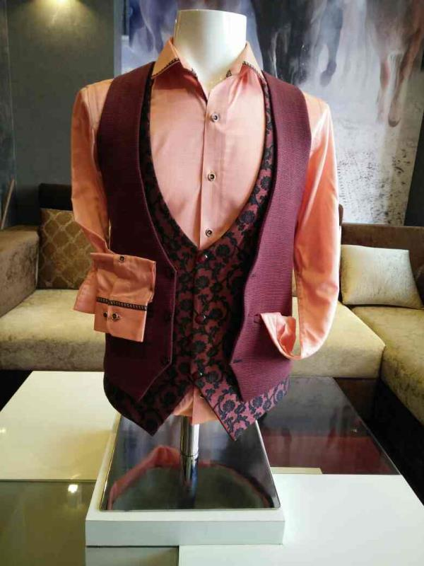 Double waist coat with shirt Material- Giza cotton (shirt), Printed linen coat Designer party wear waist coat with cottony shirt