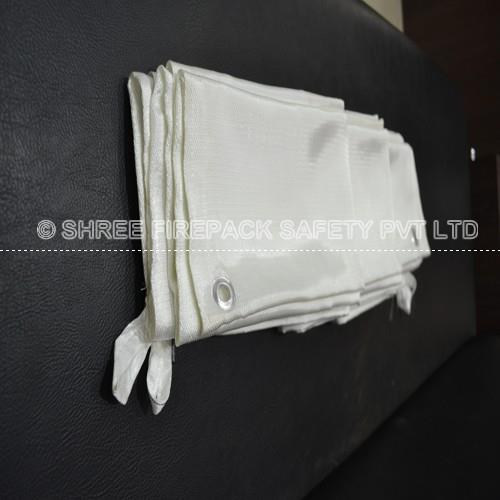 Fire blanket are made of fire resistant woven glass fiber fabric.  Others, Fire blanket stitch four sizes.  others Gourmets are provided at ends & interval for 0.5m.