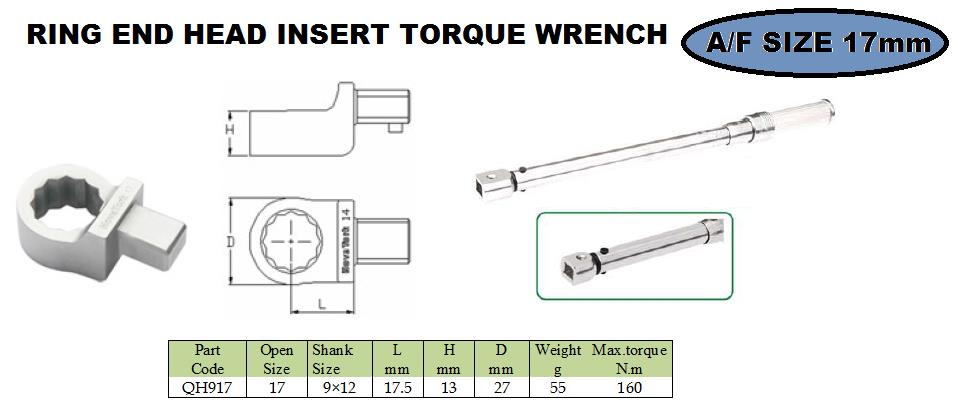 Ring end head fitting 17 mm  torque wrench     Ring end attachment heads are ideal, when  Interchangeable heads with the same centre line may be interchanged among themselves arbitrarily, no need to change the torque wrench to be adjusted a - by JALA SALES- Engineering Solutions, Pune