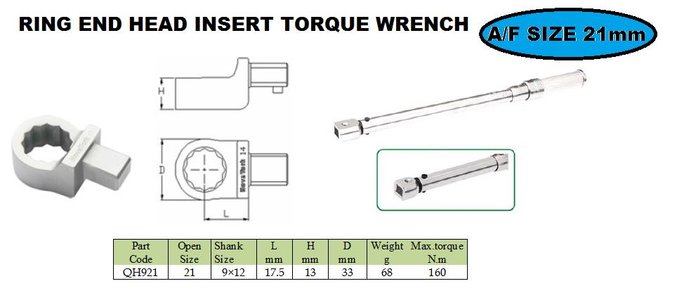 Ring end head fitting 21 mm  torque wrench     Ring end attachment heads are ideal, when  Interchangeable heads with the same centre line may be interchanged among themselves arbitrarily, no need to change the torque wrench to be adjusted a - by JALA SALES- Engineering Solutions, Pune