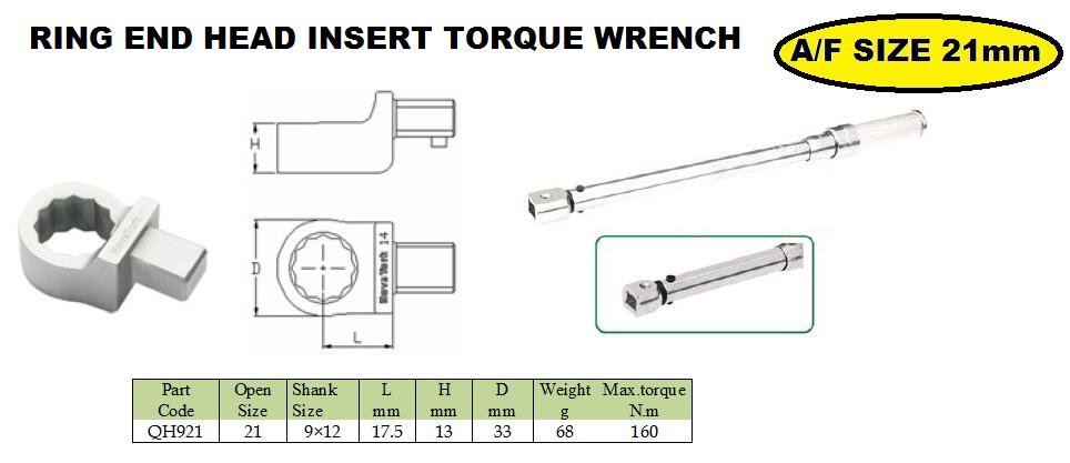 Ring end head fitting 22 mm  torque wrench     Ring end attachment heads are ideal, when  Interchangeable heads with the same centre line may be interchanged among themselves arbitrarily, no need to change the torque wrench to be adjusted a - by JALA SALES- Engineering Solutions, Pune