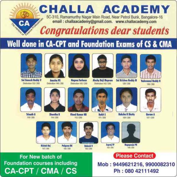 Happy Deepawali. New batch of CA-CPT starts from January. Registration started. Maximum 25 per batch. Experienced Professional Faculties. Excellent results with distinctions www.challaacademy.com Ramamurthy Nagar Blr 16 Ph 42111492 94496212 - by Challa Academy PU College, Bengaluru