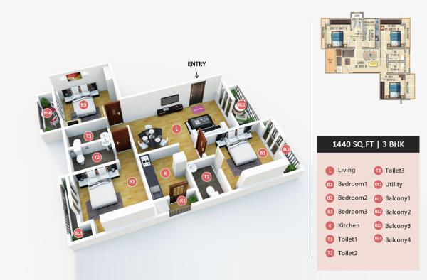 Ready Possession Luxury Flat Plan with 2D-3D, along with Amenities.   show flat is Ready & open on all Working day   - by Dange Group, india