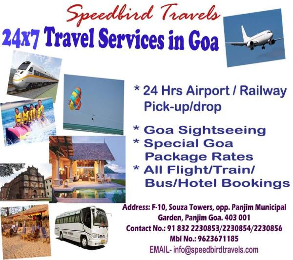 Best holiday deals for Goa .  Cheap fully furnished , close to Beach apartments in Goa with pool , breakfast , transfers , North & South Goa Sightseeing & the beautiful sunset river cruise , Also compliementary bottle of wine , toiletries and other inclusions .. Rates start from Rs 9999 per couple + tax .   Also , heritage tours , Dudhsagar waterfalls , Water sports , Paragliding, parasailing, Dolphin watching , crocodile watching.   Fully Service apartments near the popular Calangute beach   Book cheap taxis on  www.GoaCoolCabs.in  for best rates all over Goa .  Call Speedbird Travels  - Panjim / Margao   91  0832  2237543  / 2230854