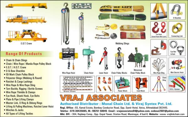 Vraj Associates is leading supplierr of Chain Pulley Blocks from Ahmedabad, Gujarat, India.