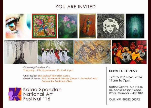 Original Paintings from various Indian Artist at Kalaa Spandan National Art Festival '16. 17th to 20th Nov 2016 from 11am to 7pm at Nehru Centre, Dr. Annie Besant Road, Worli, Mumbai 400018. Visit us at stall No.11, 18, 78/79 Handcrafted Home Decor, Home Accessories, Furniture, Paintings, Murals, Wall Art and Gifting Ideas from The Art Spa  www.theartspa.in  Call: +918828200072