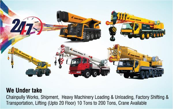 We undertake all type of loading, unloading of equipment and safe transportation of odd dimension materials. We are having a fleet of 3 Ton capacity small cranes to 100 Ton capacity cranes, We also under take any types of jobs having any dimension, irrespective of weights all the jobs of cranes. We are also having forklifts from 3 Ton capacity to 10 Ton capacity.