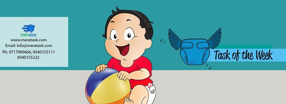 Like every adult has his specific set of demands, so does a tiny toddler. Meratask reported an unusual task this week which was so cute and strange at the same time.Who would have thought about an enquiry for the delivery of a diaper for a  - by www.meratask.com, Delhi