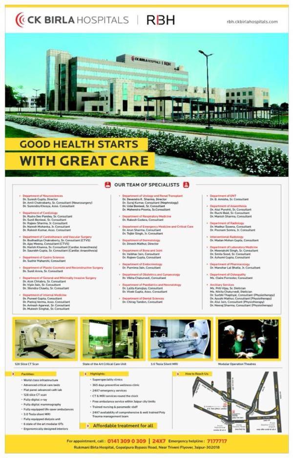 CK Birla Cardiac & Other departments