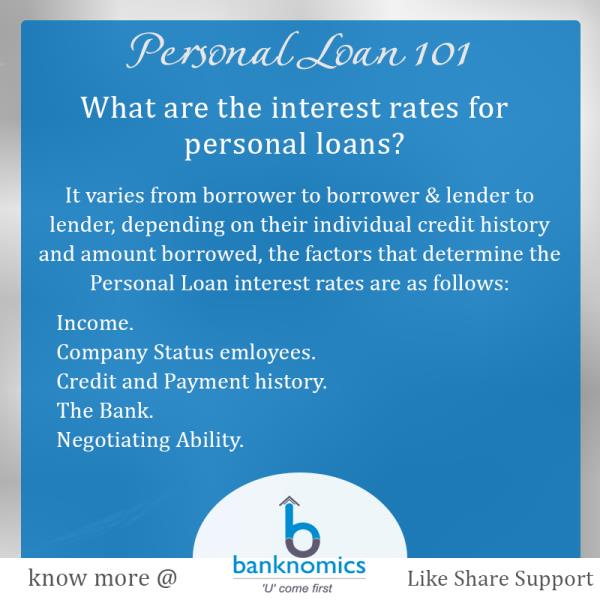 Do you know about the interest rates that Banks charges against their personal loan? Do all lenders charge the same? What are the major factors that play an important role in deciding the interest rates against the personal loan taken by yo - by Banknomics.com @ 9818619968, South Delhi