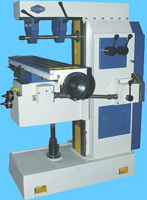 Universal Gear Head Milling Machine                                            Model SM-3   Technical Specifications	Model SM-2	SM-3 Surface of Table	1050 x 250 mm	1300 x 300 mm Distance between T-slot	62 mm	80 mm Longitudinal Travel of Table	600 mm	750 mm Cross Travel of Table	230 mm	300 mm Vertical Adjustment of Table	450 mm	550 mm Distance between center line of  spindle to lower surface of over arm	115 mm	170 mm Taper in Spindle	ISO 40	ISO 50 Quill	-	- Head Swiveling to Both Side	-	- Diameter of Milling arbor	25.4	25.4 Range of Spindle Speeds	40, 72, 100, 125, 225, 310, 385, 685, 960 RPM	40, 60, 80, 105, 140, 160, 210, 300, 330, 495, 660, 945 RPM Number of Feeds	3 Feeds	3 Feeds Motor	2 HP 1440 RPM	3 HP 1440 RPM Floor Space	950 x 550 mm	1260 x 625 mm Height	1670 mm	1900 mm