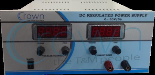 DC POWER SUPPLY  CROWN DC Power Supply 0-30V/5A is a very popular model as it is useful in  many types of labs & industries  , it has 2 digital meters to monitor output voltage & current  . our DC power supply provides constant output on lo - by Crown Electronic Systems, New Delhi