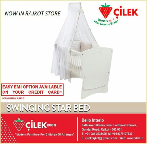 An all new special rocking crib with a lock feature from CILEK for you cute babies, now available at Rajkot store. - by KK Enterprise, Rajkot