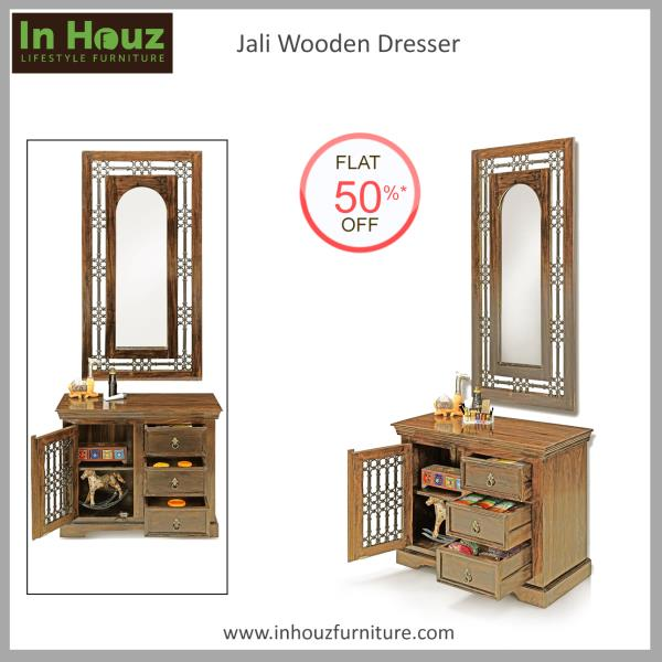 Crafted from superior Solid Wood and with a Beautiful Finish, this Dresser will make getting ready in the morning, an easy affair.   #DressingTable #OnlineDressingTable #HardwoodDressingTable  #SheeshamWoodDressingTable  #FurnitureSaleInIndia #OnlineFurniture #BedroomFurniture #Inhouz #inhouzfurniture #OnlineFurnitureInMumbai  Browse through our online store www.inhouzfurniture.com