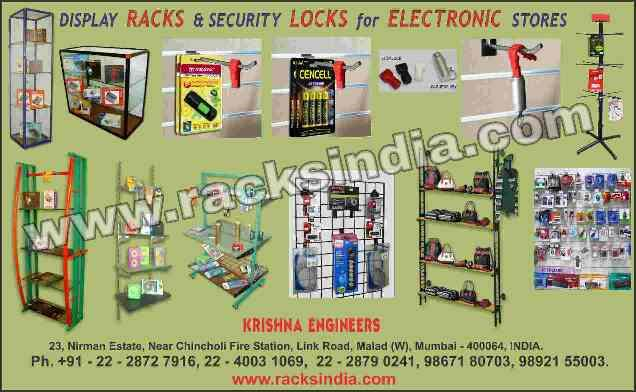 Display Racks for Electronic store, Display racls for computer accessories, Display Stand for Microwave Oven, Display fittings for Led tv and air condition, store fittings for pendrives, headphones, memory cards, Modular furniture for shopping malls, shop fittings to display steam iron, toaster, blender, cameras, Display racks for Mobiles and it's covers