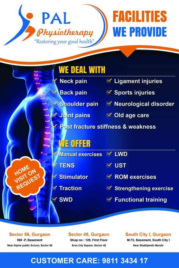 linic in Gurgaon PAL Physiotherapy We provide:Physiotherapy CareOccupational Therapy CareSpeech Therapy CareIn - Company Physiotherapy clinic Ergonomic Assessment and Sessions Home Care services For more information :www.palphysiotherapy.com Call +919811343417