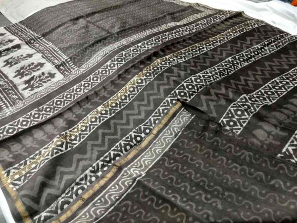 Chanderi Sarees. this is pure Vegetable dye Chanderi Sarees with blouse. designer sarees and best quality fabric it is. Dabu kashish print.  Chanderi Sarees @ Tridev Febrics  - by Tridev Febrics, Jaipur